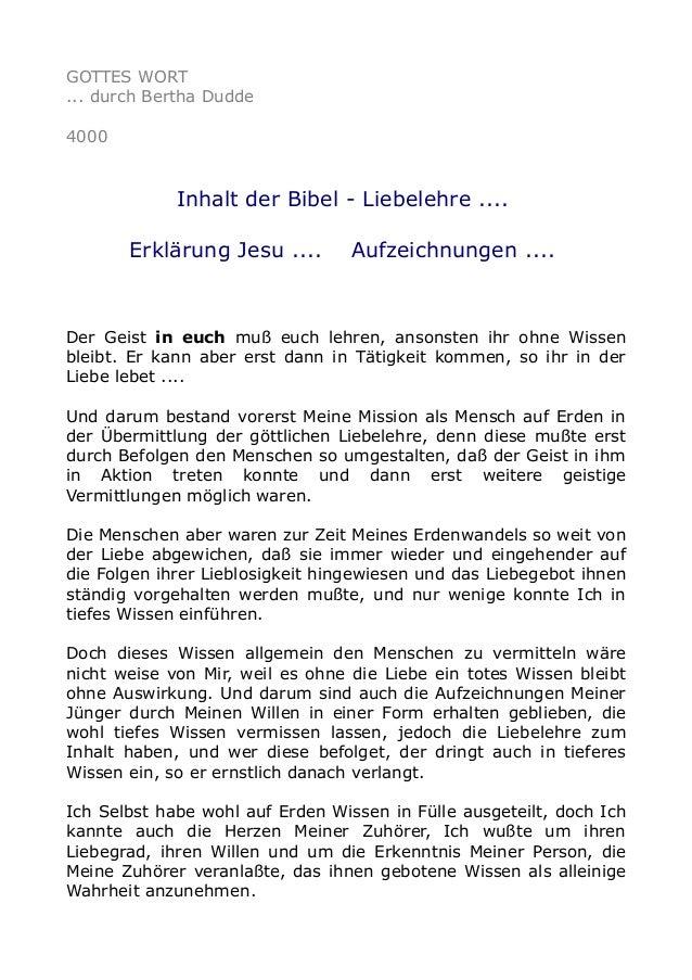 GOTTES WORT ... durch Bertha Dudde 4000 Inhalt der Bibel - Liebelehre .... Erklärung Jesu .... Aufzeichnungen .... Der Gei...
