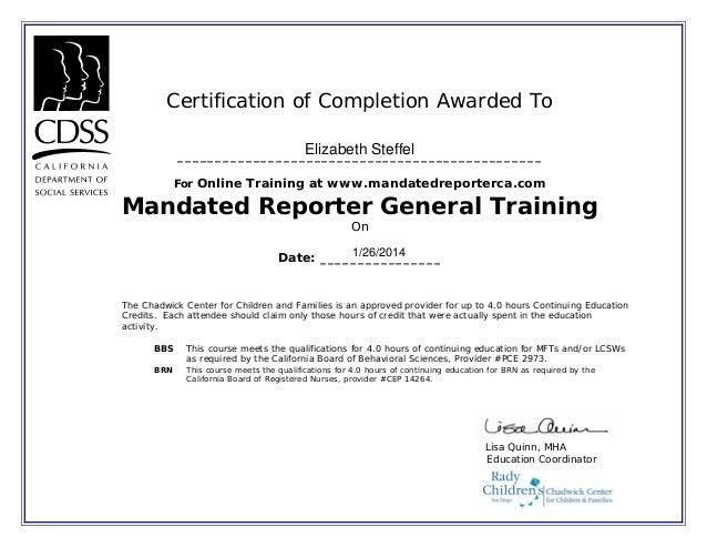 Mandated reporter training