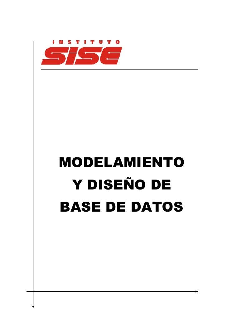 MODELAMIENTO Y DISEÑO DEBASE DE DATOS