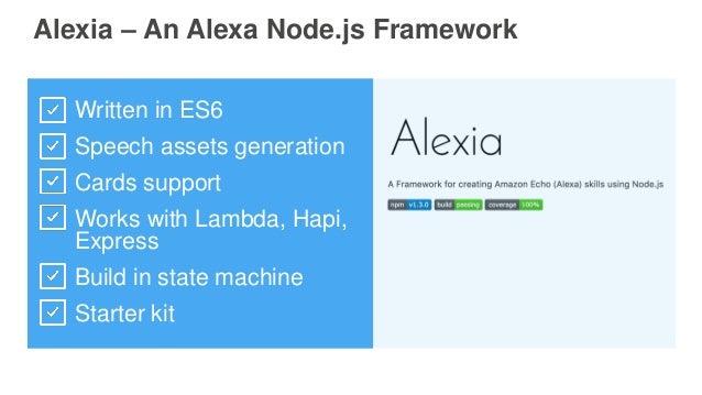 Alexia – An Alexa Node.js Framework Written in ES6 Speech assets generation Cards support Works with Lambda, Hapi, Express...