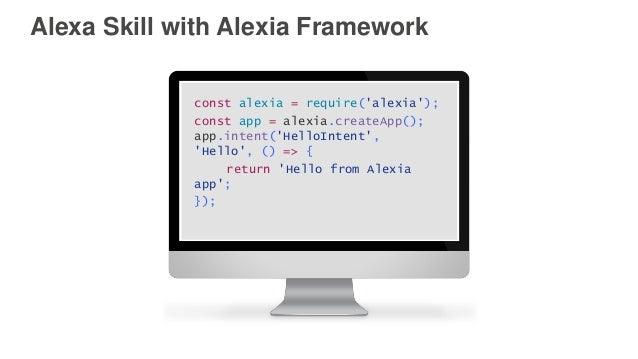 Alexa Skill with Alexia Framework const alexia = require('alexia'); const app = alexia.createApp(); app.intent('HelloInten...
