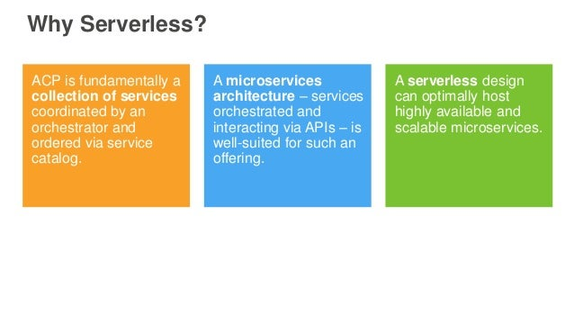 Why Serverless? ACP is fundamentally a collection of services coordinated by an orchestrator and ordered via service catal...