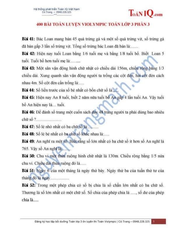 400 bài toán luyện violympic toán lớp 3 phần 3