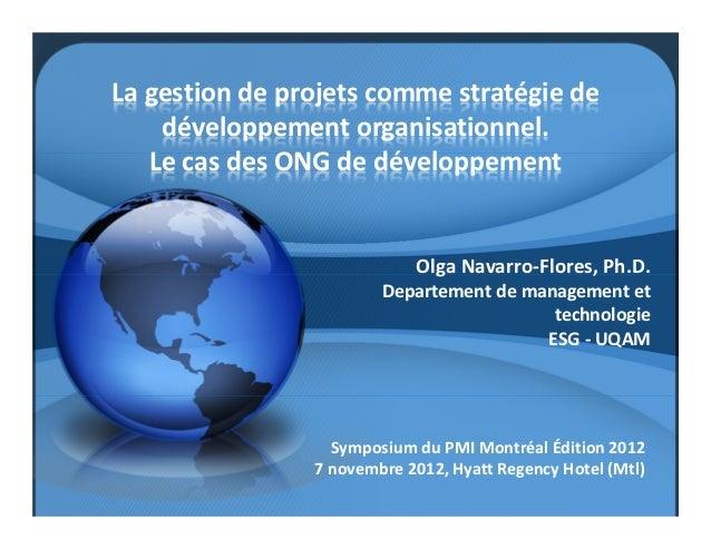 La gestion de projets comme stratégie de    développement organisationnel.   Le cas des ONG de développement              ...