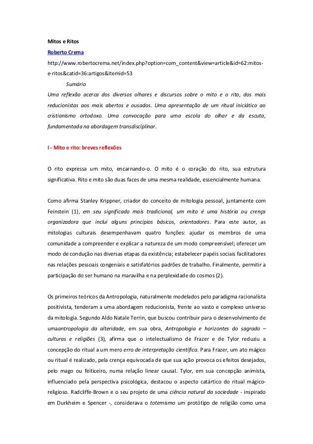 Mitos e Ritos Roberto Crema http://www.robertocrema.net/index.php?option=com_content&view=article&id=62:mitos- e-ritos&cat...