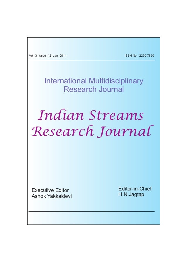 ORIGINAL ARTICLE ISSN No : 2230-7850 International Multidisciplinary Research Journal Indian Streams Research Journal Exec...