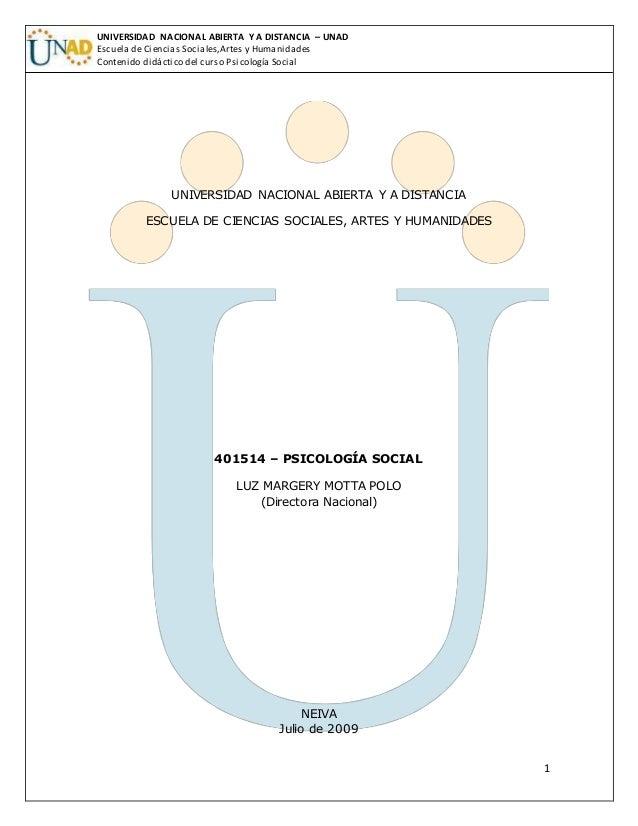 1 UNIVERSIDAD NACIONAL ABIERTA Y A DISTANCIA – UNAD Escuela de Ciencias Sociales,Artes y Humanidades Contenido didáctico d...