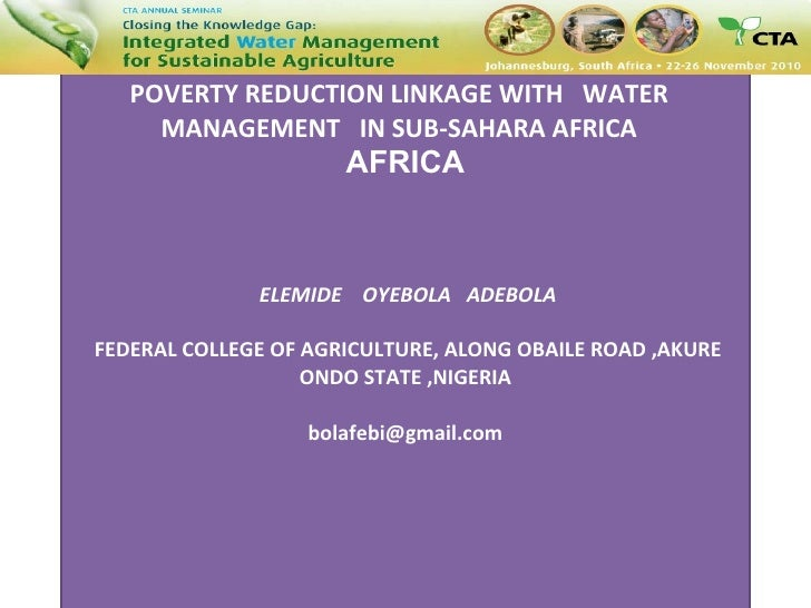 POVERTY REDUCTION LINKAGE WITH  WATER  MANAGEMENT  IN SUB-SAHARAN AFRICA  POVERTY REDUCTION LINKAGE WITH  WATER  MANAGEMEN...