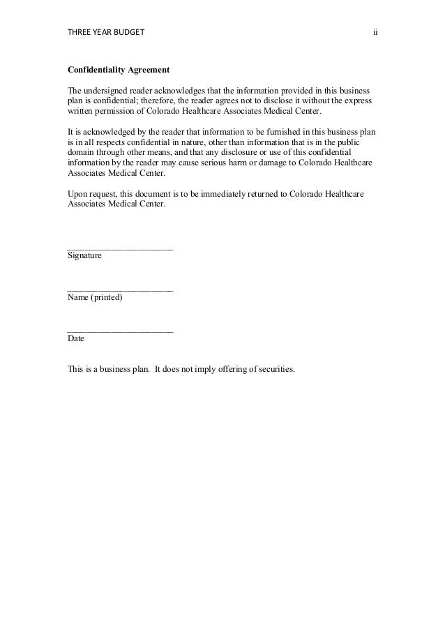 HCA410Sample Business Plan Template – Medical Confidentiality Agreement