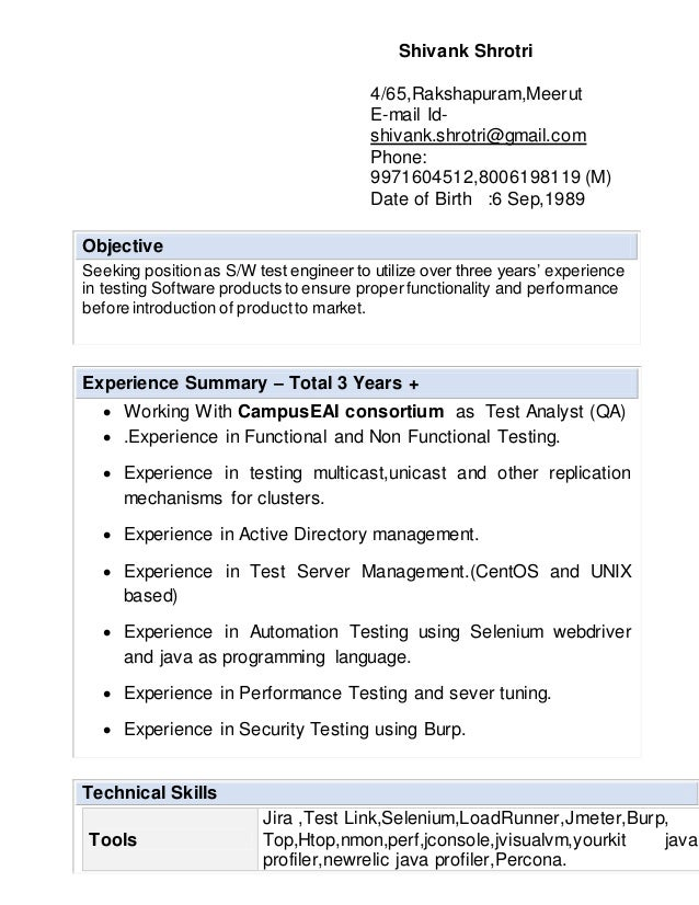 Test Engineer CV for 3+ exp