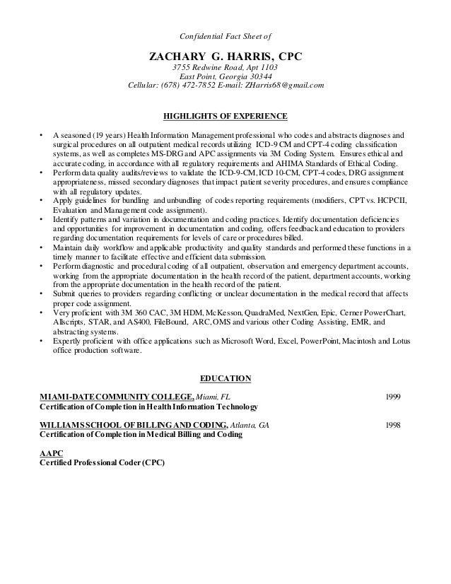 harris zachary professional cpc resume doc 2 3 16