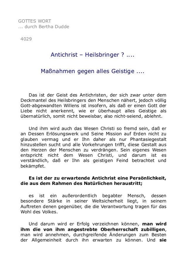 GOTTES WORT ... durch Bertha Dudde 4029 Antichrist – Heilsbringer ? .... Maßnahmen gegen alles Geistige .... Das ist der G...