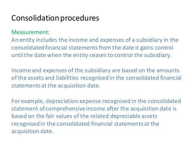 Consolidating financial statement example