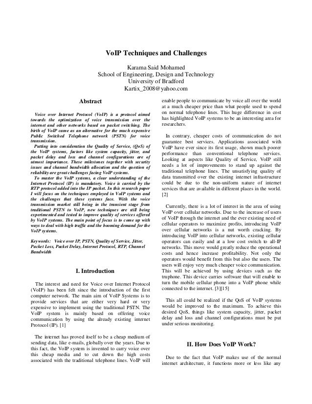 Research Paper On VOIP Technology. VoIP Techniques And Challenges Karama  Said Mohamed School Of Engineering, Design And Technology University Of ... Pictures Gallery