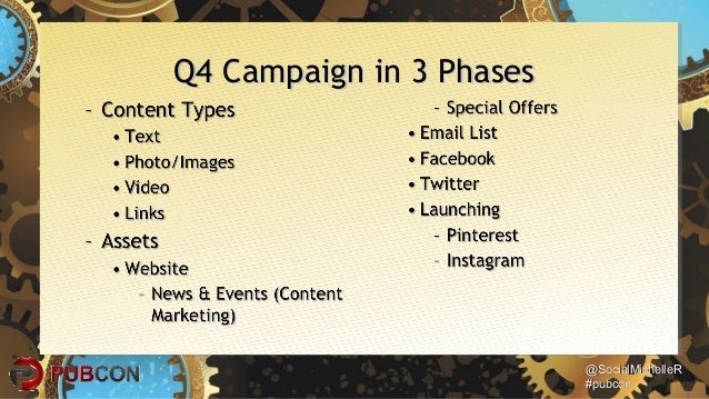 @SocialMichelleR@SocialMichelleR #pubcon#pubcon Q4 Campaign in 3 PhasesQ4 Campaign in 3 Phases