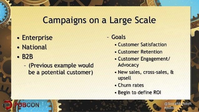 @SocialMichelleR@SocialMichelleR #pubcon#pubcon Campaigns on a Large ScaleCampaigns on a Large Scale