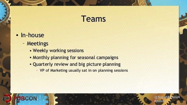 @SocialMichelleR@SocialMichelleR #pubcon#pubcon TeamsTeams • In-houseIn-house – MeetingsMeetings • Weekly working sessions...