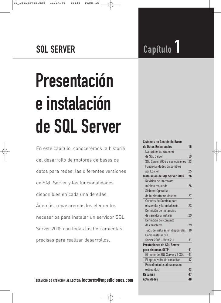 SQL SERVER                                                 Capítulo                1Presentacióne instalaciónde SQL Server...