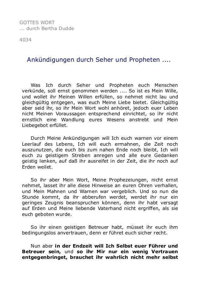 GOTTES WORT ... durch Bertha Dudde 4034 Ankündigungen durch Seher und Propheten .... Was Ich durch Seher und Propheten euc...