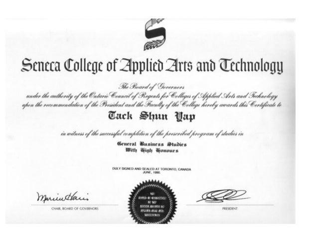 Copy Of Seneca College Diploma Resized