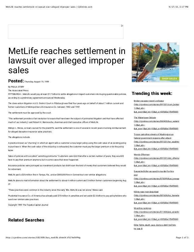 9/17/15, 3:17 PMMetLife reaches settlement in lawsuit over alleged improper sales | CJOnline.com Page 1 of 3http://cjonlin...