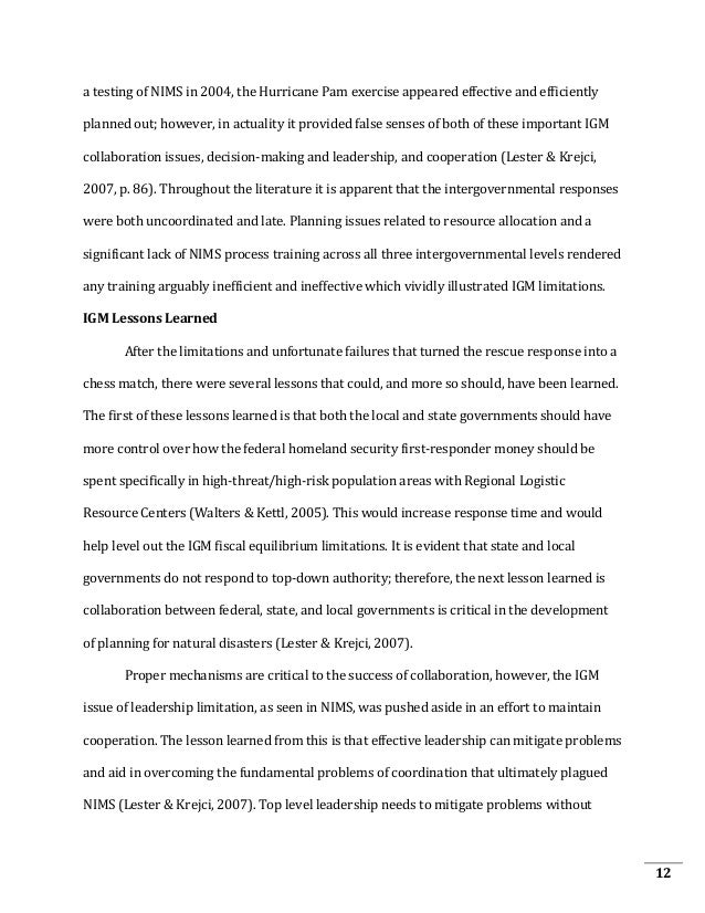 hurricane katrina research paper thesis