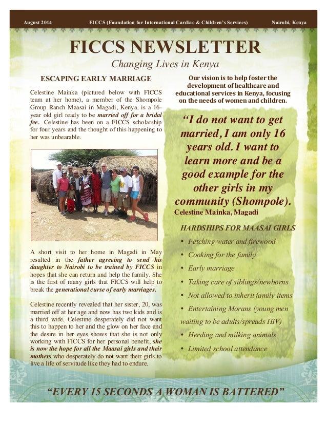 August 2014 FICCS (Foundation for International Cardiac & Children's Services) Nairobi, Kenya  FICCS NEWSLETTER  Changing ...