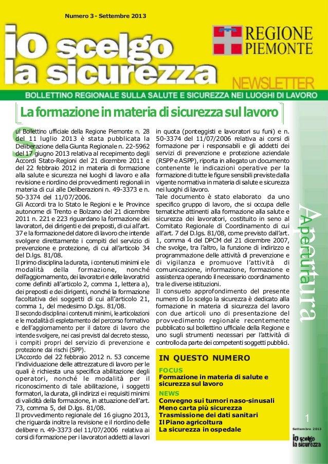 Numero 3 - Settembre 2013  La formazione in materia di sicurezza sul lavoro  S  in quota (ponteggisti e lavoratori su funi...