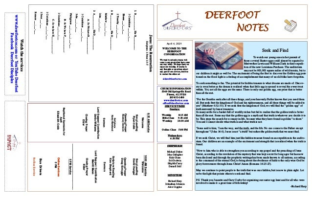 DEERFOOT DEERFOOT DEERFOOT DEERFOOT NOTES NOTES NOTES NOTES April 4, 2021 WELCOME TO THE DEERFOOT CONGREGATION We want to ...