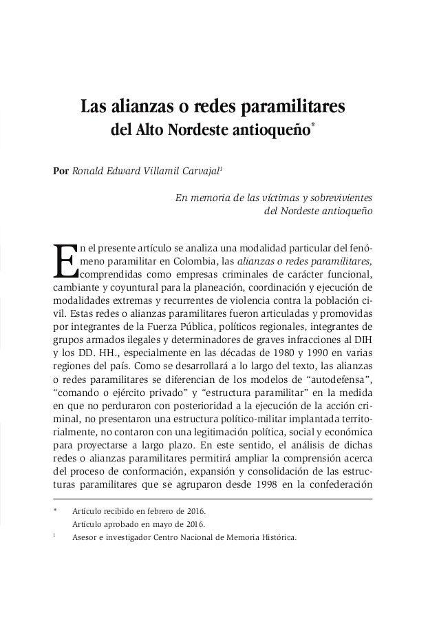 Las alianzas o redes paramilitares del Alto Nordeste antioqueño 153 Las alianzas o redes paramilitares del Alto Nordeste a...