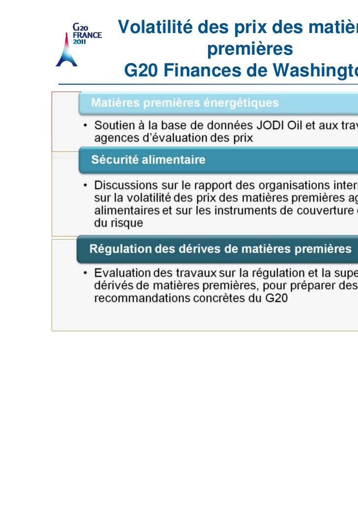 Volatilité des prix des matières                                   premières                        G20 Finances de Washin...