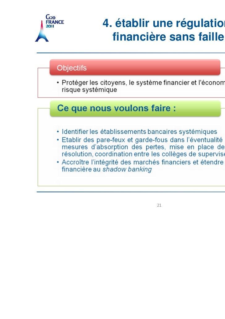 4. établir une régulation  financière sans faille          21