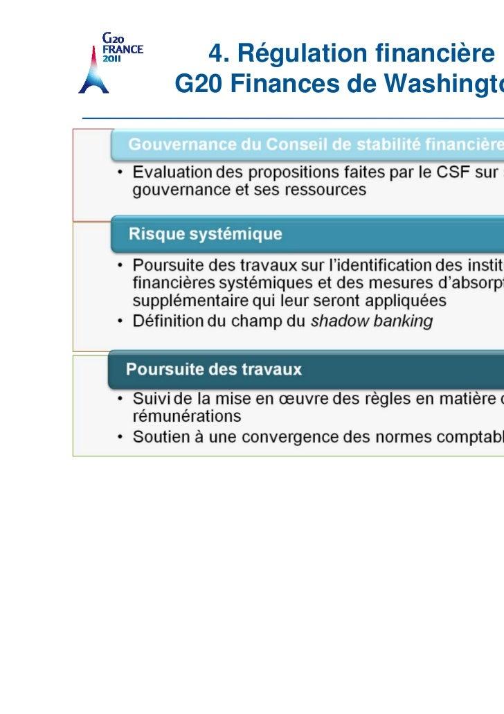 4. Régulation financière                         G20 Finances de Washington22   Titredelaprésentation