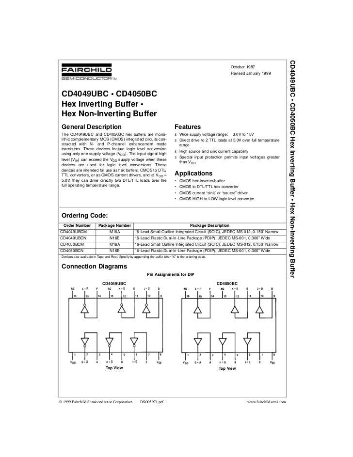 CD4049UBC • CD4050BC Hex Inverting Buffer • Hex Non-Inverting Buffer                                                      ...