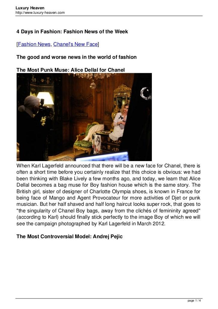 Luxury Heavenhttp://www.luxury-heaven.com4 Days in Fashion: Fashion News of the Week[Fashion News, Chanels New Face]The go...