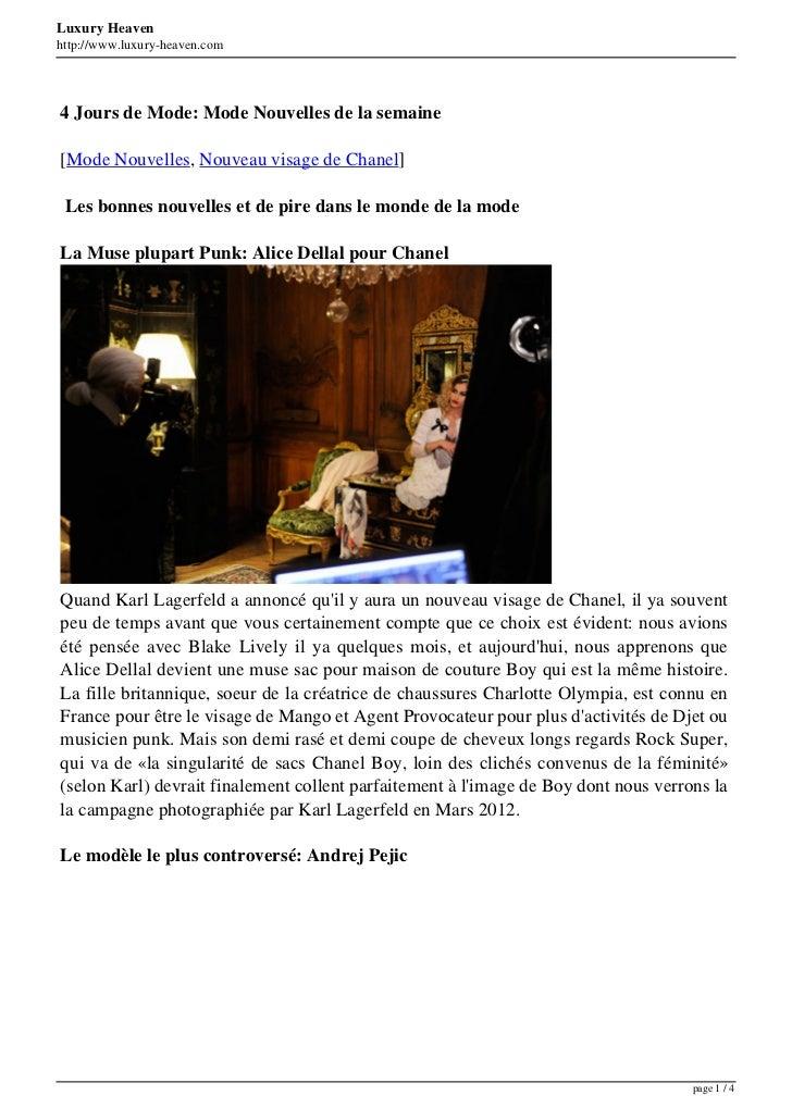 Luxury Heavenhttp://www.luxury-heaven.com4 Jours de Mode: Mode Nouvelles de la semaine[Mode Nouvelles, Nouveau visage de C...