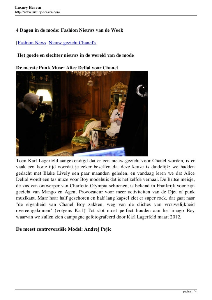 Luxury Heavenhttp://www.luxury-heaven.com4 Dagen in de mode: Fashion Nieuws van de Week[Fashion News, Nieuw gezicht Chanel...
