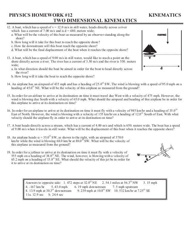 physics homework 13 two dimensional projectiles