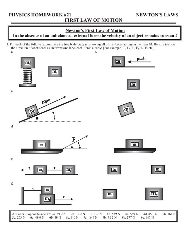 40561671 homeworksheetsreview – Newtons Laws Worksheet