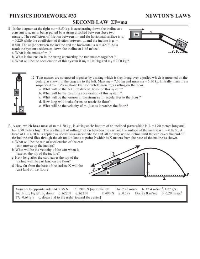 physics homework #31 second law