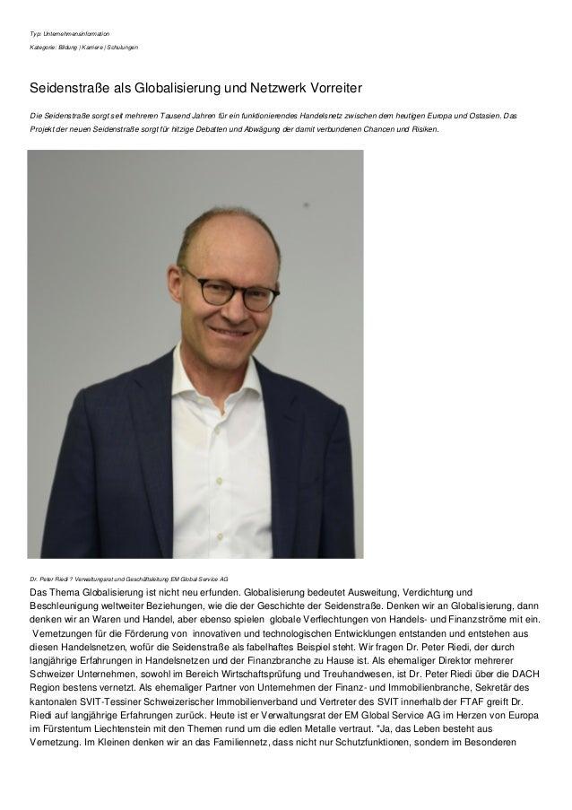 Typ: Unternehmensinformation Kategorie: Bildung | Karriere | Schulungen Seidenstraße als Globalisierung und Netzwerk Vorre...