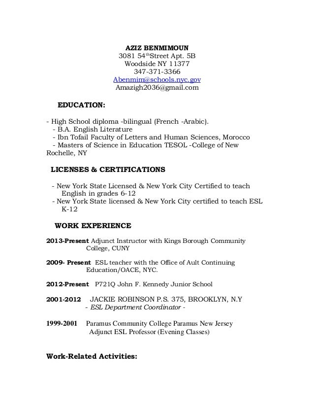 A. Benmimoun Resume And Cover Letter