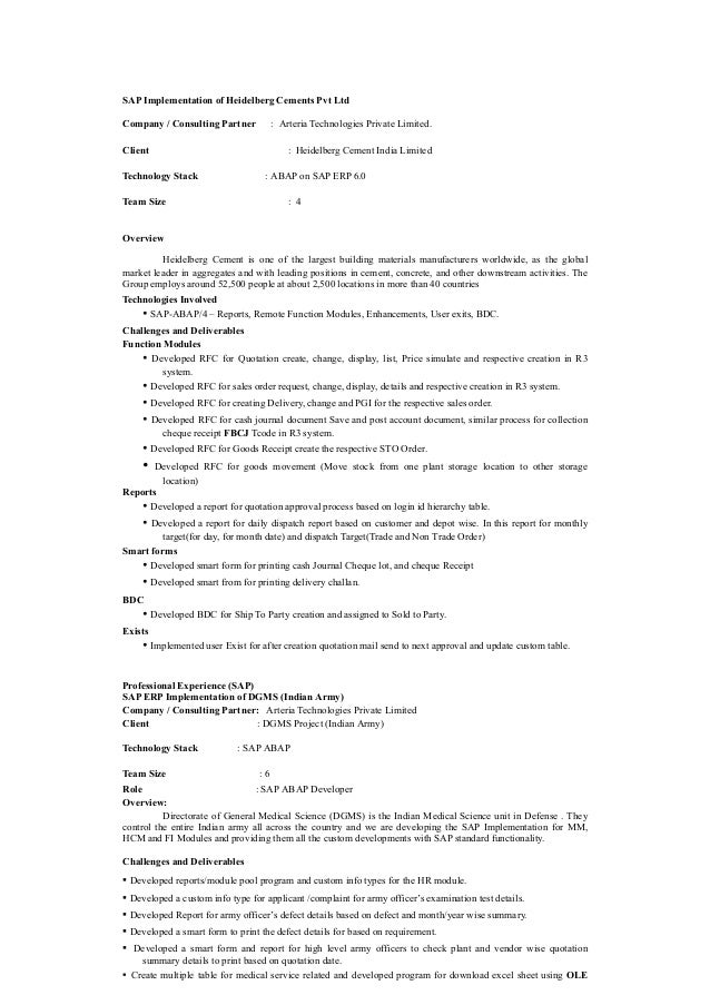 sap abap resume doc