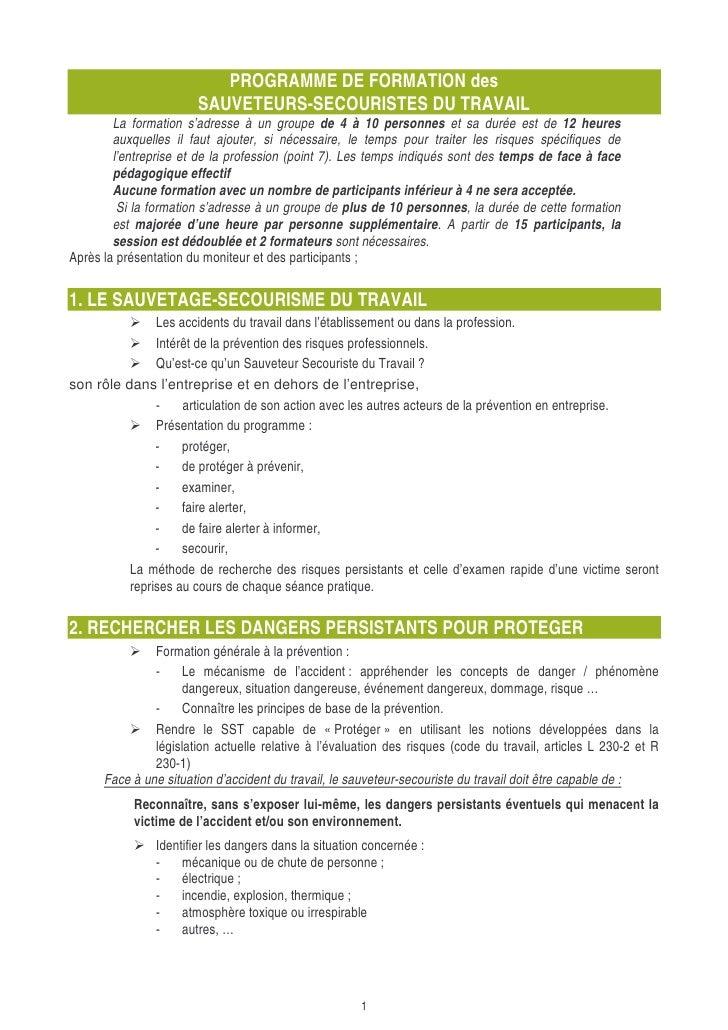 PROGRAMME DE FORMATION des                        SAUVETEURS-SECOURISTES DU TRAVAIL         La formation s'adresse à un gr...