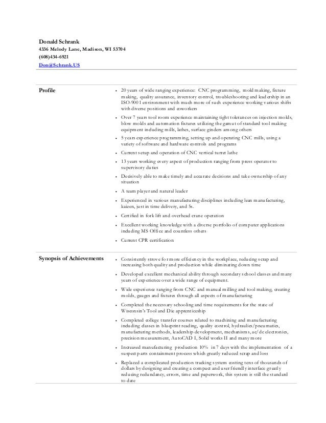 Donald Schrank Resume