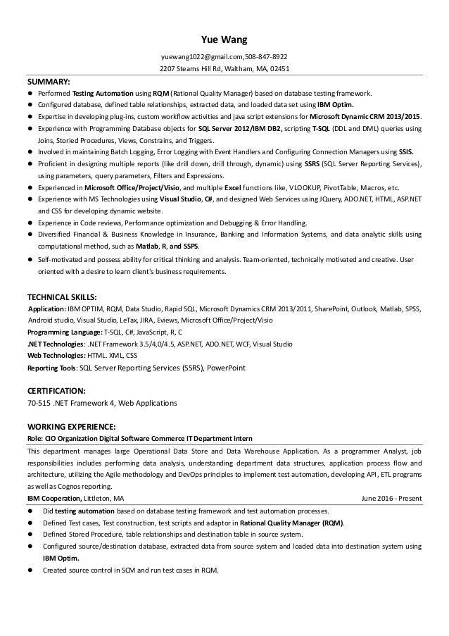 resume yuewang