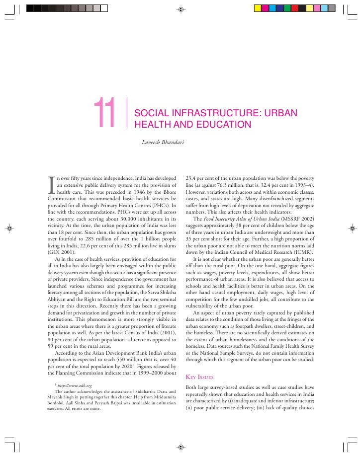232      India Infrastructure Report 2006                            11                     SOCIAL INFRASTRUCTURE: URBAN  ...