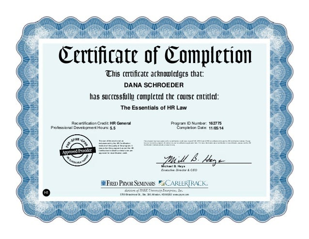 Certificate Of Completion The Essentials Of Hr Law
