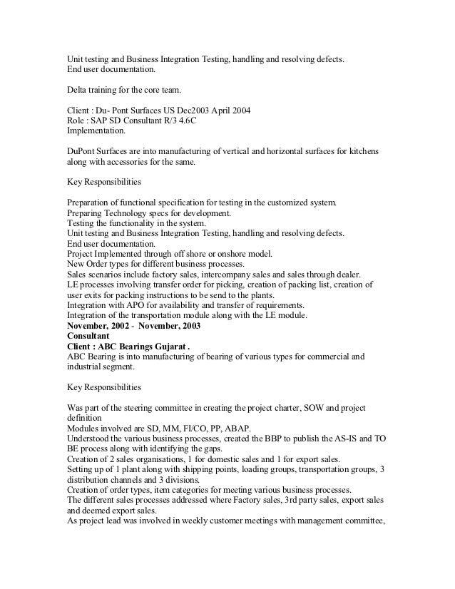 sap testing resume