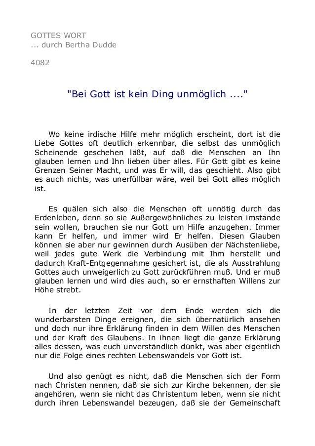 """GOTTES WORT ... durch Bertha Dudde 4082 """"Bei Gott ist kein Ding unmöglich ...."""" Wo keine irdische Hilfe mehr möglich ersch..."""